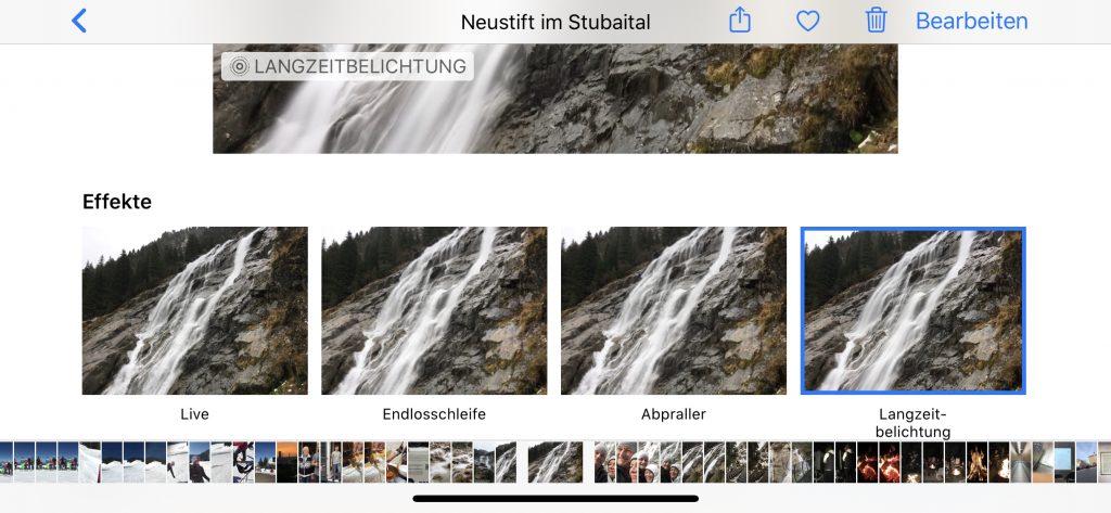 In der Fotos-App kannst Du drei Effekte für ein Live Photo wählen